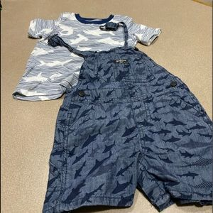 2 pc boys overalls shark set